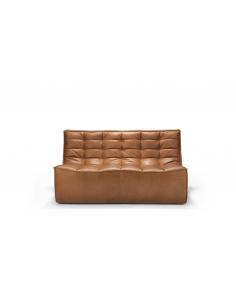 N701 canapé - 2 places - CUIR cognac 140 x 91 x 76