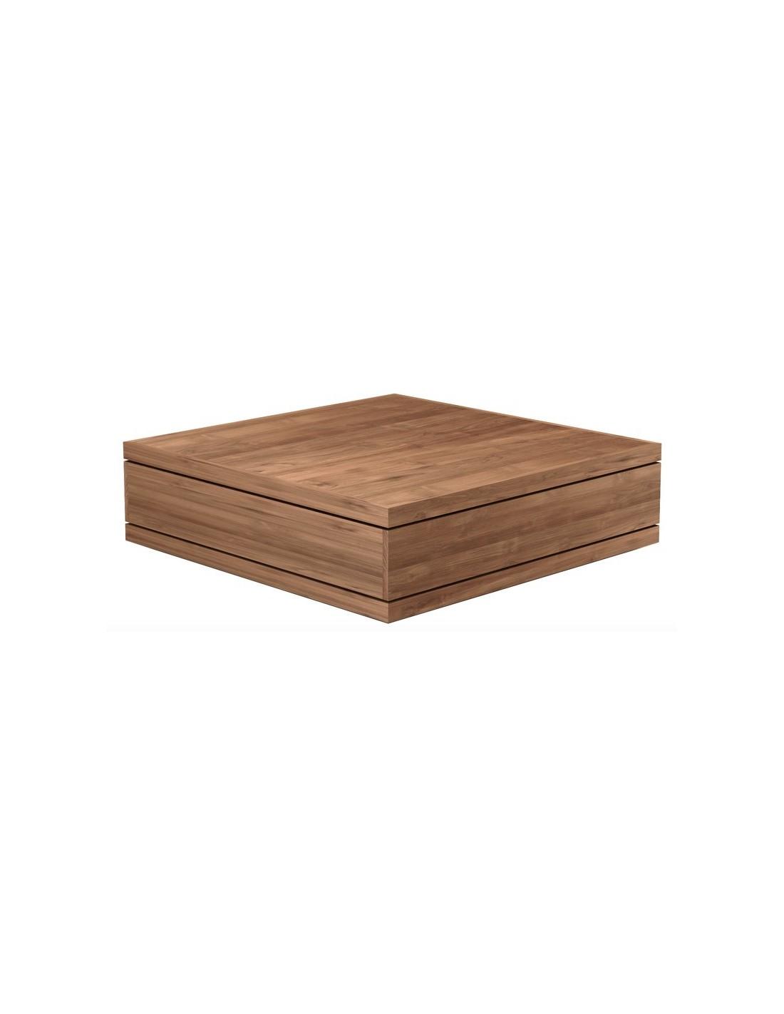 Teck Burger - table basse - 2 tiroirs -110-110-32cm