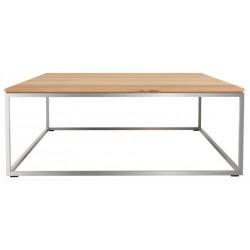 Chene Thin-table basse-cadre inox-80-80-30cm