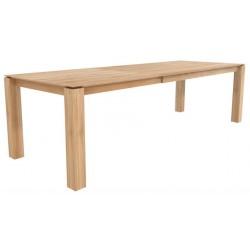 Chene table a rallonges Slice -1 rallonge de 100 cm-pieds 10x10 cm-180/280-100-77cm- Nouveau