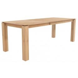 Chene table a rallonges Slice -1 rallonge de 100 cm-pieds 8x8 cm-140/220-90-77cm- Nouveau