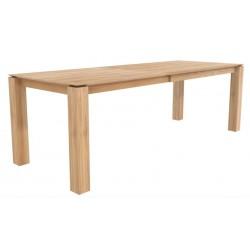 Chene table a rallonges Slice -1 rallonge de 100 cm-pieds 10x10 cm-160/240-90-77cm- Nouveau