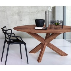 Walnut table circle diameter 163 cm height 76 cm