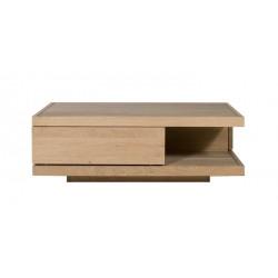 Chene Flat-table basse-2 tiroirs-110-110-37cm