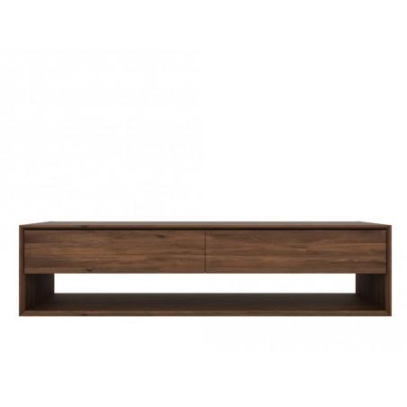 Noyer-Nordic-meuble-TV-1-porte-abattante-1-tiroir-180-46-45cm-Nouveau