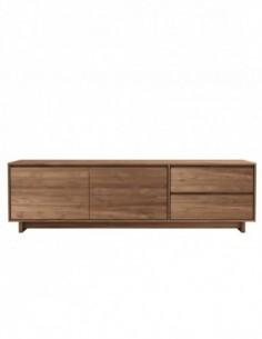 Teck Wave meuble TV - 2 portes - 1 porte abattante - 1 tiroir - FSC 100%  210 x 46 x 60