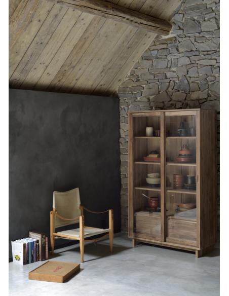 Teck Wave bibliothèque - 2 portes vitrées coulissantes - 2 tiroirs - 100% 110 x 46 x 183
