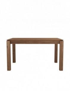 Teck table à rallonge Slice - pieds 8x8 cm 140/220  x 90 x 76