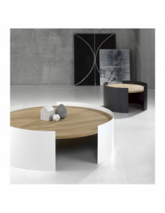 Chêne table basse Moon L - Blanc 100 x 100 x 29