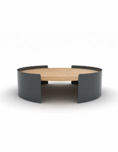 Chêne table basse Moon L - Noir 100 x 100 x 29