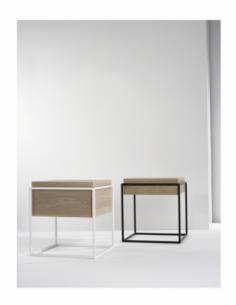 Chêne Monolit bout de canapé S - Noir 47 x 47 x 51