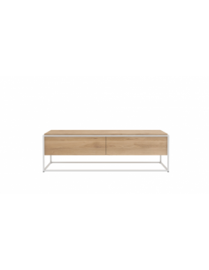 Chêne Monolit meuble TV - 1 tiroir - 1 porte abattante - Blanc 140 x 45 x 42