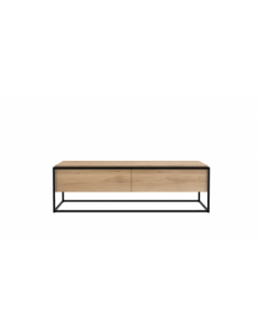 Chêne Monolit meuble TV - 1 tiroir - 1 porte abattante - Noir 140 x 45 x 42