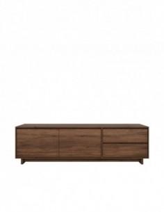 Noyer Wave meuble TV - 2 portes - 1 porte abattante - 1 tiroir   210 x 46 x 60