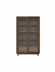 Noyer Wave bibliothèque - 2 portes vitrées coulissantes - 2 tiroirs  110 x 46 x 183