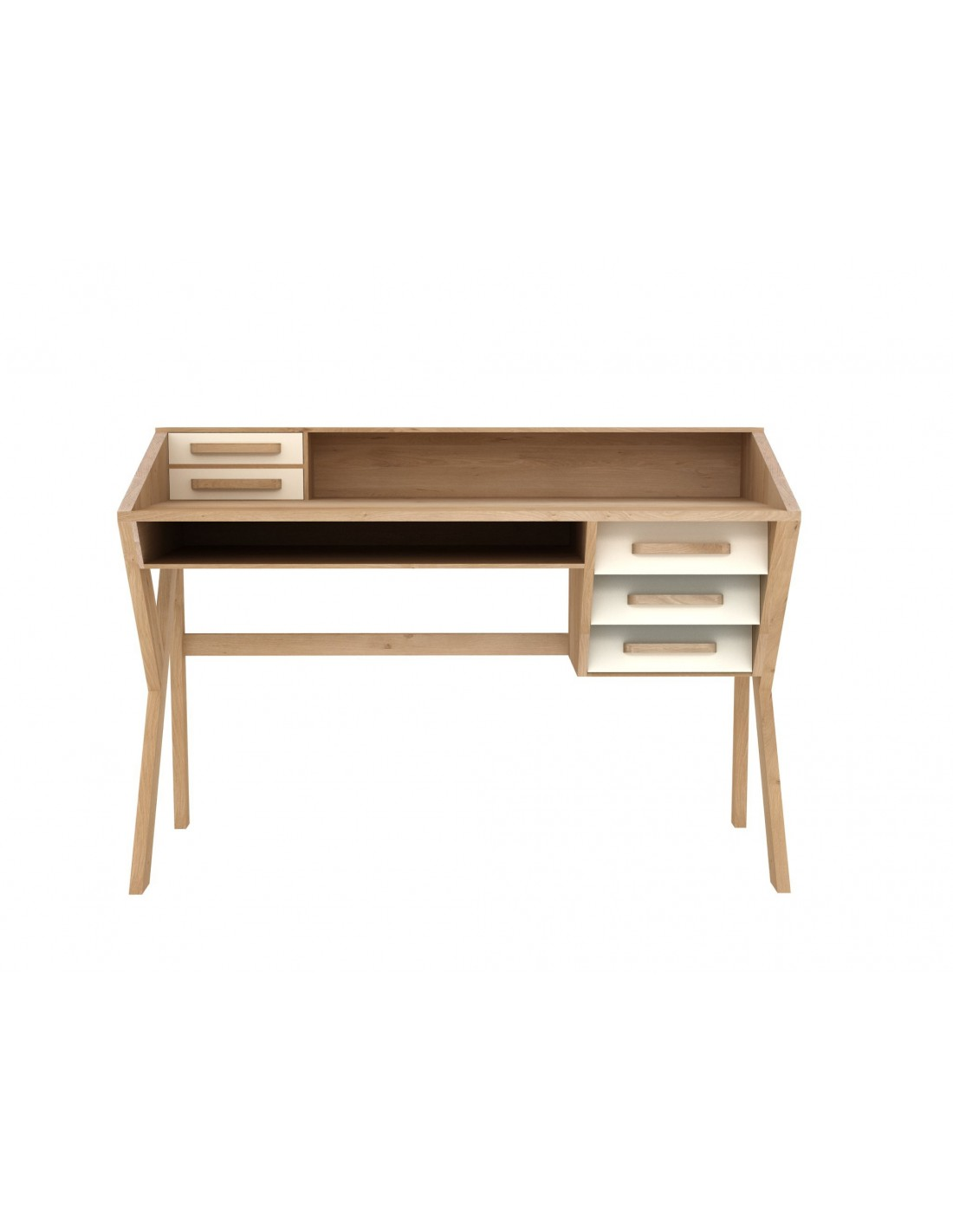 Origami oak bureau desk- Crème - 5 drawers 135 x 55 x 94cm