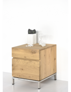 Chêne Ligna chevet - 1 porte charnières à droite - 1 tiroir  45 x 40 x 50