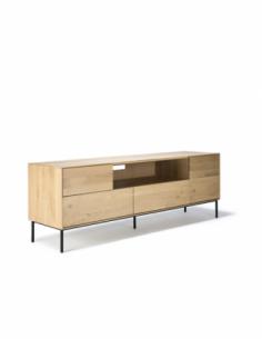 Chêne Whitebird meuble TV - 1 porte - 1 porte abattante - 2 tiroirs 180 x 45 x 61