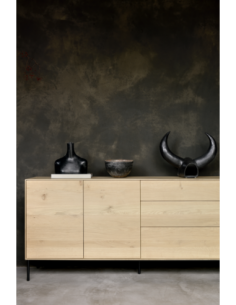 Chêne Whitebird buffet - 2 portes - 3 tiroirs  180 x 45 x 80