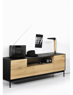 Chêne Blackbird meuble TV - 1 porte - 1 porte abattante - 2 tiroirs 180 x 45 x 61