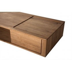Chene Shadow-table basse-2 portes coulissantes-150-70-33cm